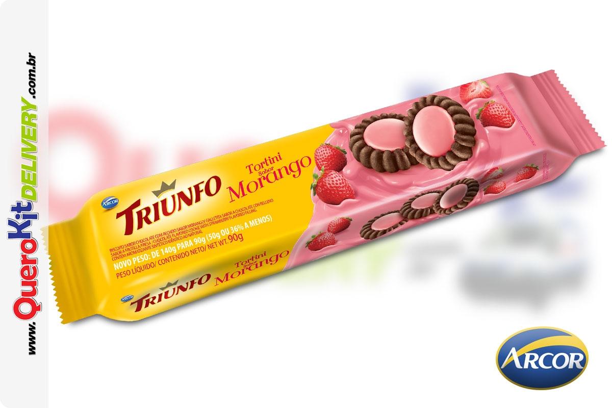 ARCOR <b>TRIUNFO TORTINI 90G MORANGO</b> - CAIXA COM 65 UNIDADES